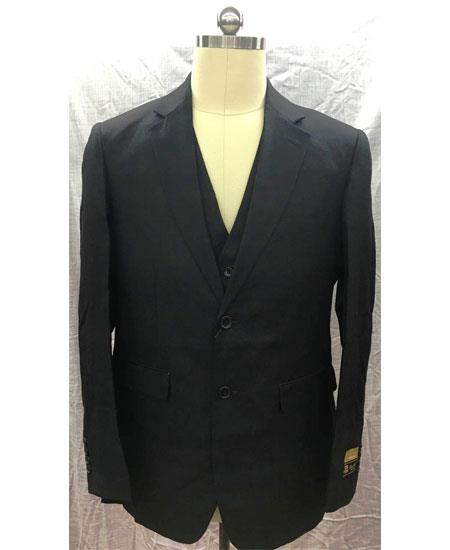 Men's Black Single Breasted Two Button Linen Vest Suit, act now only $175.00