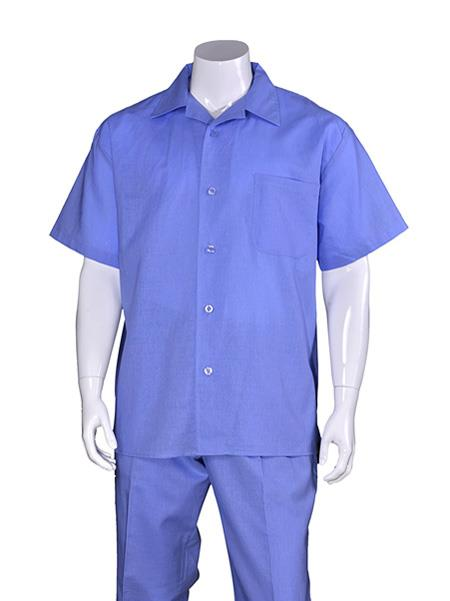 Men's Blue Plain Short Sleeve Linen Casual Walking Suit, act now only $75.00