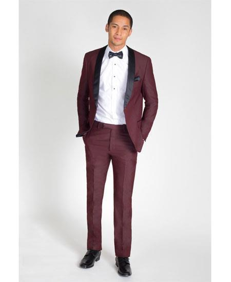 Men's Burgundy Single Breasted Slim Fit Suit, act now only $199.00