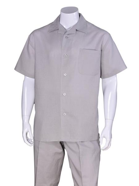Men's Gray Plain Short Sleeve Linen Casual Walking Suit, act now only $75.00