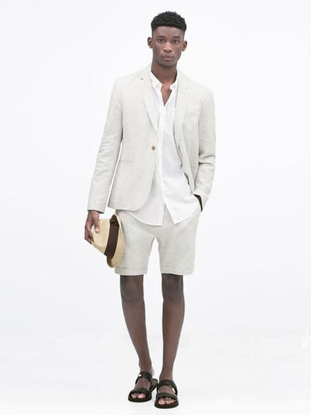 Men's Ivory Linen Fabric Summer Business Suit with shorts pants set, act now only $299.00