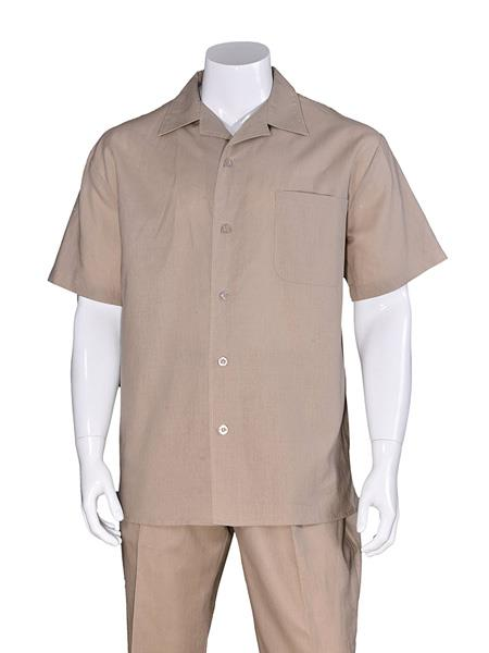 Men's Khaki Plain Short Sleeve Linen Casual Walking Suit, act now only $75.00