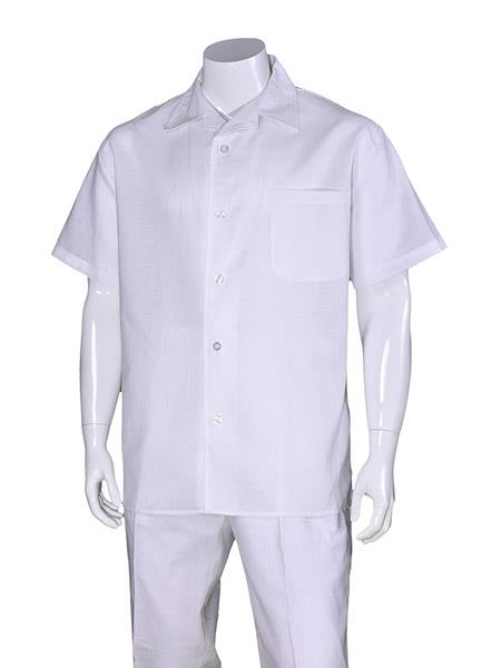 Men's Linen White Short Sleeve Plain Casual Walking Suit, act now only $75.00
