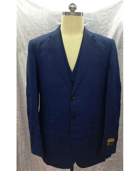 Men's Navy Single Breasted Linen Vest 2 Button Suit, act now only $175.00