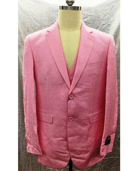 Men's Pink Single Breasted Linen Two Button Notch Lapel Vest Suit, act now only $175.00