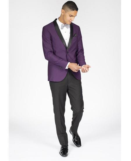Men's Purple Slim Fit One Button Tuxedo, act now only $199.00