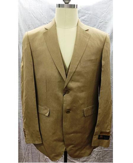 Men's Tan Two Button Single Breasted Linen Vest Suit, act now only $175.00