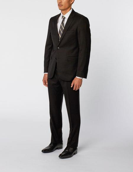 Men's Two Black Single Breasted Notch Lapel 100% Wool Double Vent Two Piece Suit, act now only $299.00