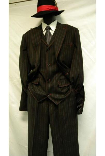 Men's Two Button Black/Red Bold ~ Chalk ~ Gangster Pinstripe ~ Stripe Zoot Suit, act now only $139.00