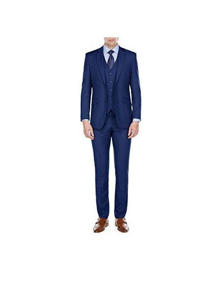 Men's Two Button Blue Single Breasted Notch Lapel Suits, act now only $129.00