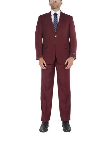 Men's Two Button Classic Fit Burgundy Single Breasted Two-Piece Side Vents Suit, act now only $120.00