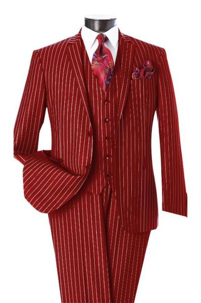 Men's Two Button Dark Red & White Pinstripe Notch Lapel Vested Suit, act now only $595.00