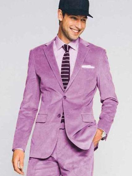 Men's Two Button Lavender Velvet Notch Lapel CORDUROY SUIT, act now only $170.00