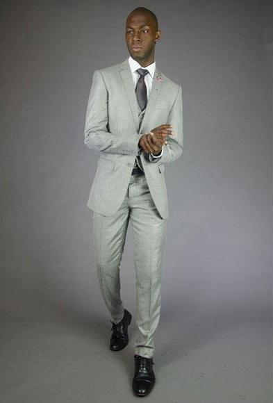 Men's Two Button Light Grey Suit, act now only $120.00