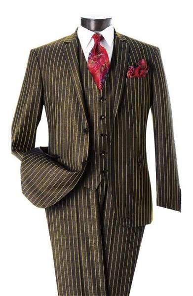 Men's Two Button Notch Lapel Black and Gold Pinstripe Vested Suit, act now only $595.00