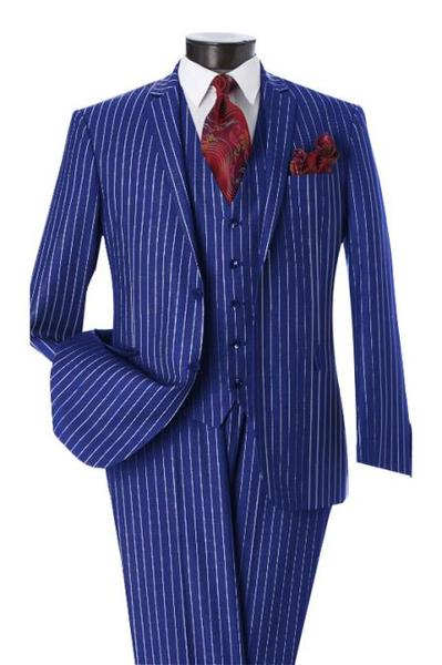 Men's Two Button Notch Lapel Pinstripe Design Single Breasted Royal Vest Suit, act now only $595.00