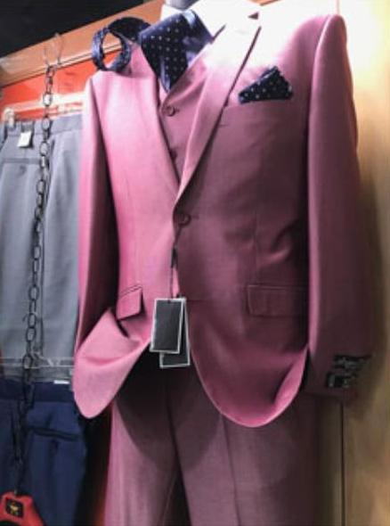 Men's Two Button Pink Vested Suit Suit, act now only $170.00
