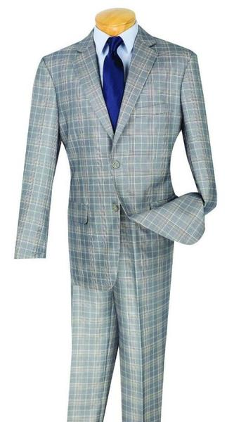 Men's Two Button Plaid Window Pane Glen Plaid Vested 3 Piece Gray Suit, act now only $175.00