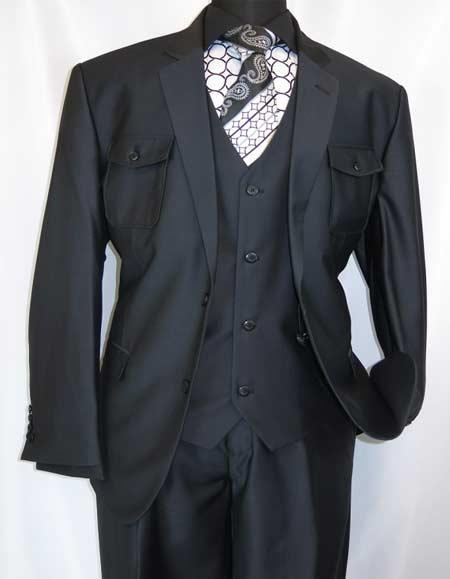 Men's Two Button Single Breasted Black Suit, act now only $175.00