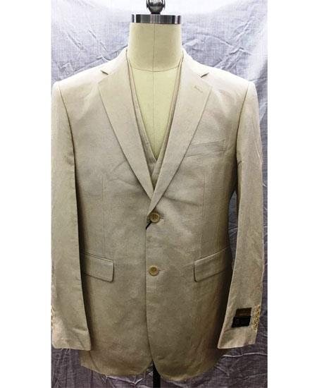 Men's Two Button Single Breasted Linen Vest Natural Suit, act now only $175.00