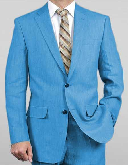 Men's Two Button Turquoise Light Real Linen Suit, act now only $149.00