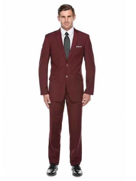 Men's Two Button Verno Burgundy Slim fit Suit, act now only $119.00