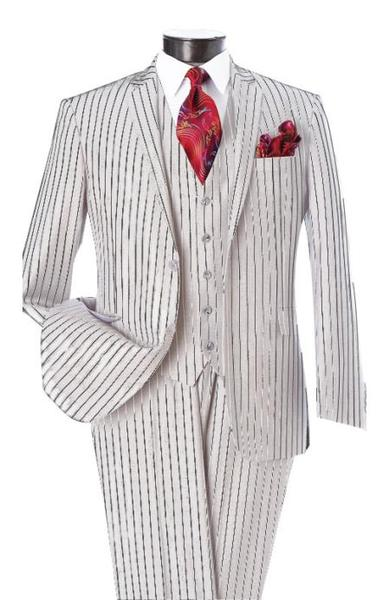 Men's Two Button White and Black Pinstripe Notch Lapel Single Breasted Vest Suit, act now only $595.00