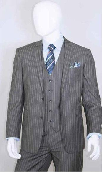 Men's Two Buttons Bold Chalk White Grey Suit, act now only $140.00