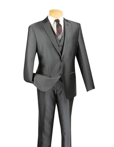 Men's Two Buttons Charcoal Slim Fit Suit, act now only $199.00