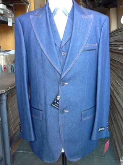 Men's Two Buttons Denim Blue Vested Suit, act now only $199.00