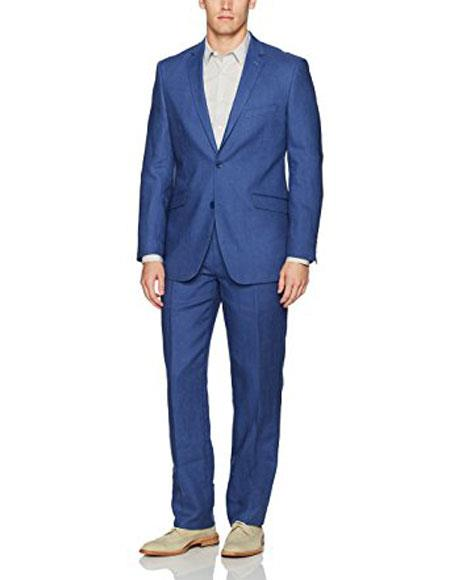 Men's Two Buttons Indigo ~ Cobalt Blue Single Breasted Linen Modern Fit Suit, act now only $175.00