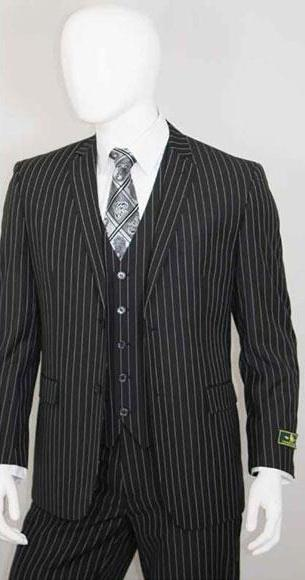 Men's Two Buttons Jet Liquid Black Suit, act now only $140.00