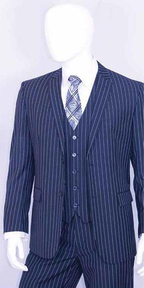 Men's Two Buttons Teal Indigo Cobalt Blue and Pinstripe Suit, act now only $140.00