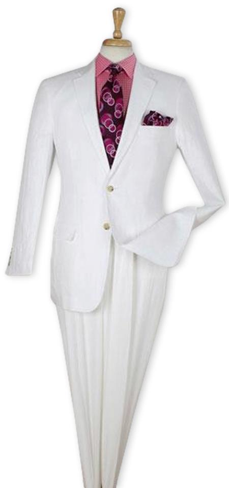 Men's White Single Breasted Linen Two Piece Regular Fit Suit, act now only $199.00