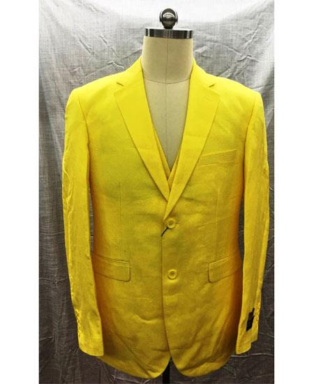 Men's Yellow Single Breasted Linen Vest Two Button Suit, act now only $175.00