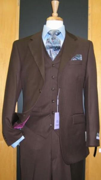 Mens 2 Button Style 3 Piece brown color shade Wool Fabric Suit, act now only $175.00