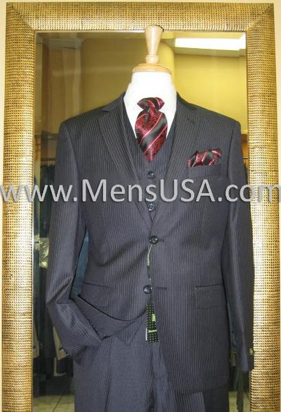 Mens 2 Button Style 3 Piece Liquid Jet Black Pinstripe Fitted Suit, act now only $185.00