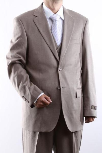 Mens 2 Button Style Beige Tonal Vested Dress Suit, act now only $139.00