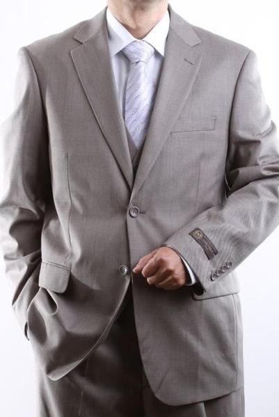 Mens 2 Button Style Light Taupe Tonal Vested Dress Suit, act now only $175.00