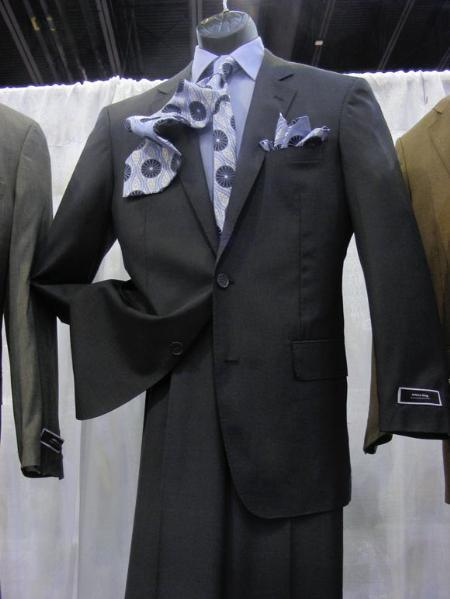 Mens 2 Button Style Suit Luxurious Poly Rayon Dark Grey Masculine color Suit, act now only $89.00
