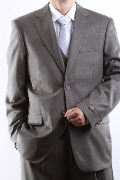 Mens 2 Button Style Taupe Tonal Vested Dress Suit, act now only $175.00