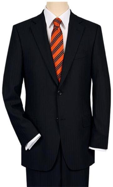 Mens 3 Button Style Vented without pleat flat front Liquid Jet Black Shadow Stripe Suit, act now only $175.00