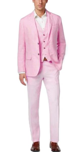 Mens Baby Pink Two Button Style Italian Suit, act now only $225.00