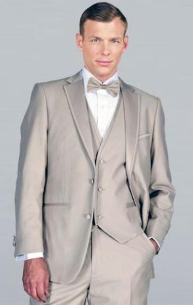Mens Beige Framed Notch Lapel with Vest Microfiber Wedding Tuxedo, act now only $185.00