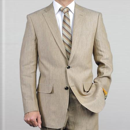 Mens Beige Light Weight Two Button Notch Lapel Real Linen Suit, act now only $149.00