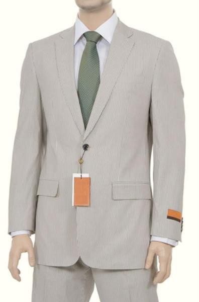 Mens Beige Pinstripe Summer Seersucker Fabric Style Suit, act now only $175.00
