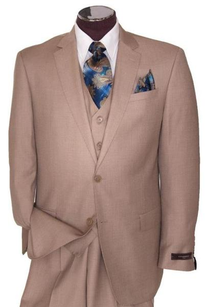 Mens Beige Regular Basic Cut Flat Front Pants Three Piece Suit, act now only $149.00