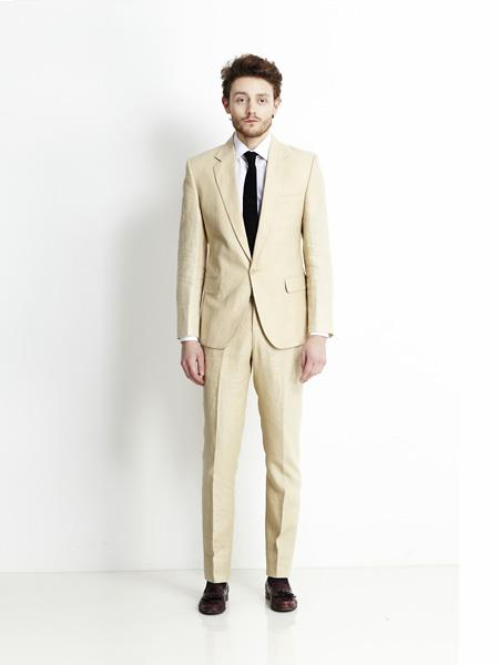 Mens Beige Single Breasted Notch Lapel Linen Suit, act now only $199.00