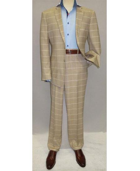 Mens Beige Single Breasted Two Button Modern Fit Suit, act now only $139.00