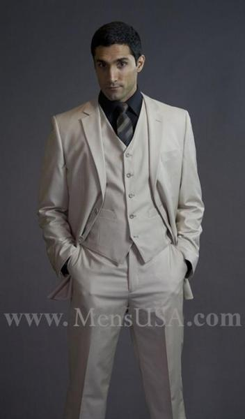 Mens Beige Two Button Flat Front affordable suit, act now only $275.00